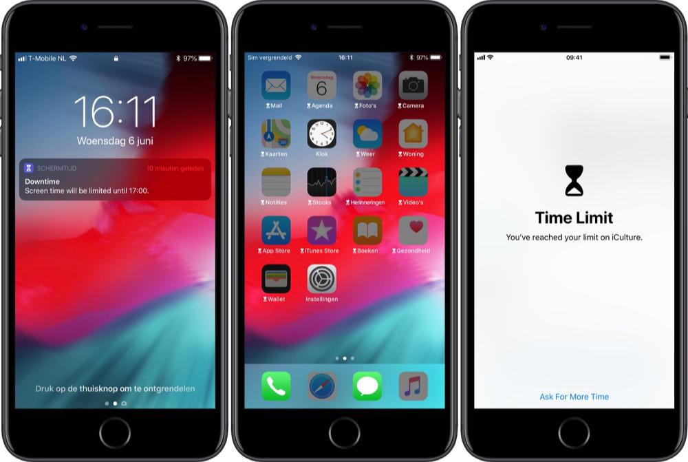 Schermtijd met limiet voor apps.