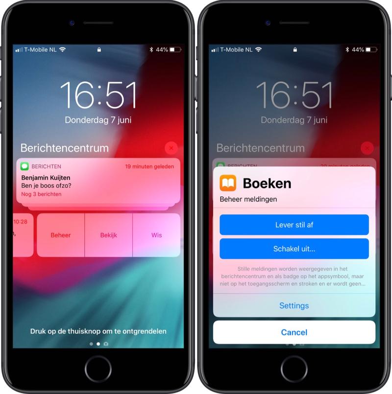 Instellingen voor iOS 12 meldingen.