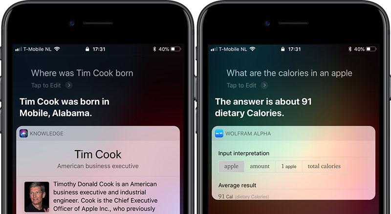 Siri weet meer over voeding en bekende mensen