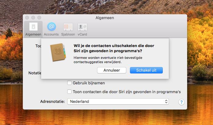 Suggesties contacten op Mac