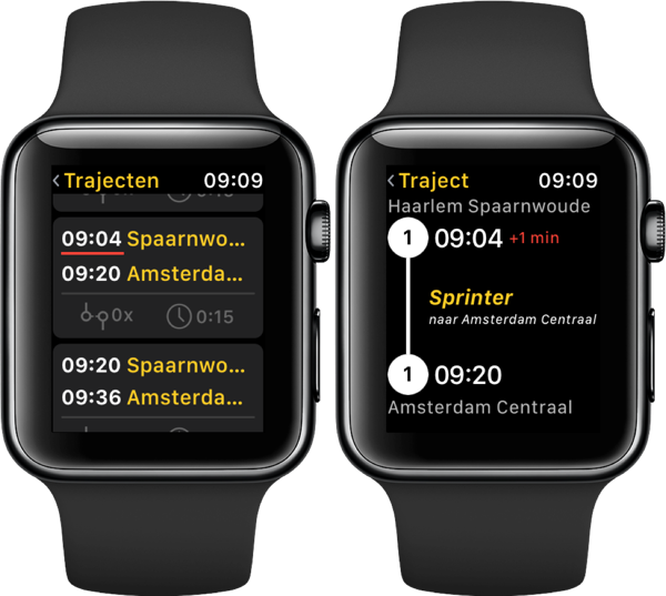 Treingids op de Apple Watch met vertraging.