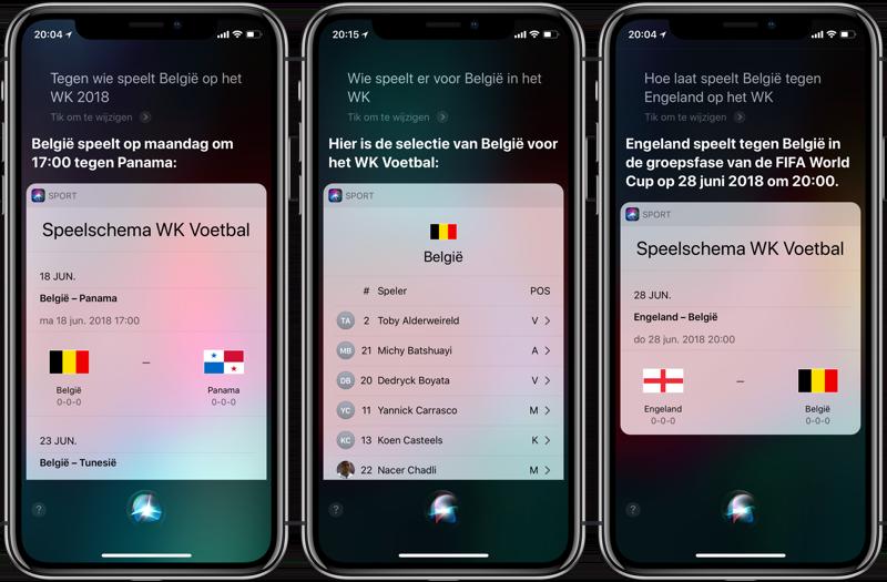 WK 2018 speelschema via Siri