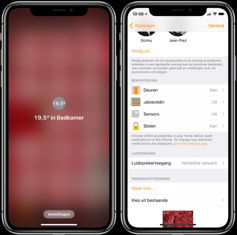 Woning-app met temperatuur en berichtgeving.