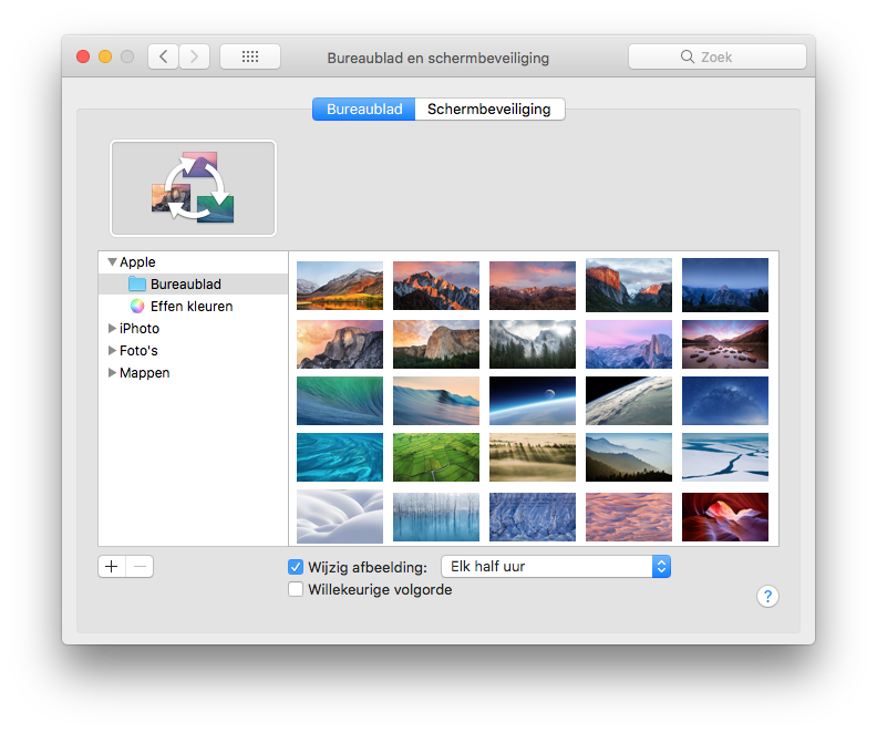 Bureaublad elk halfuur wijzigen op de Mac.