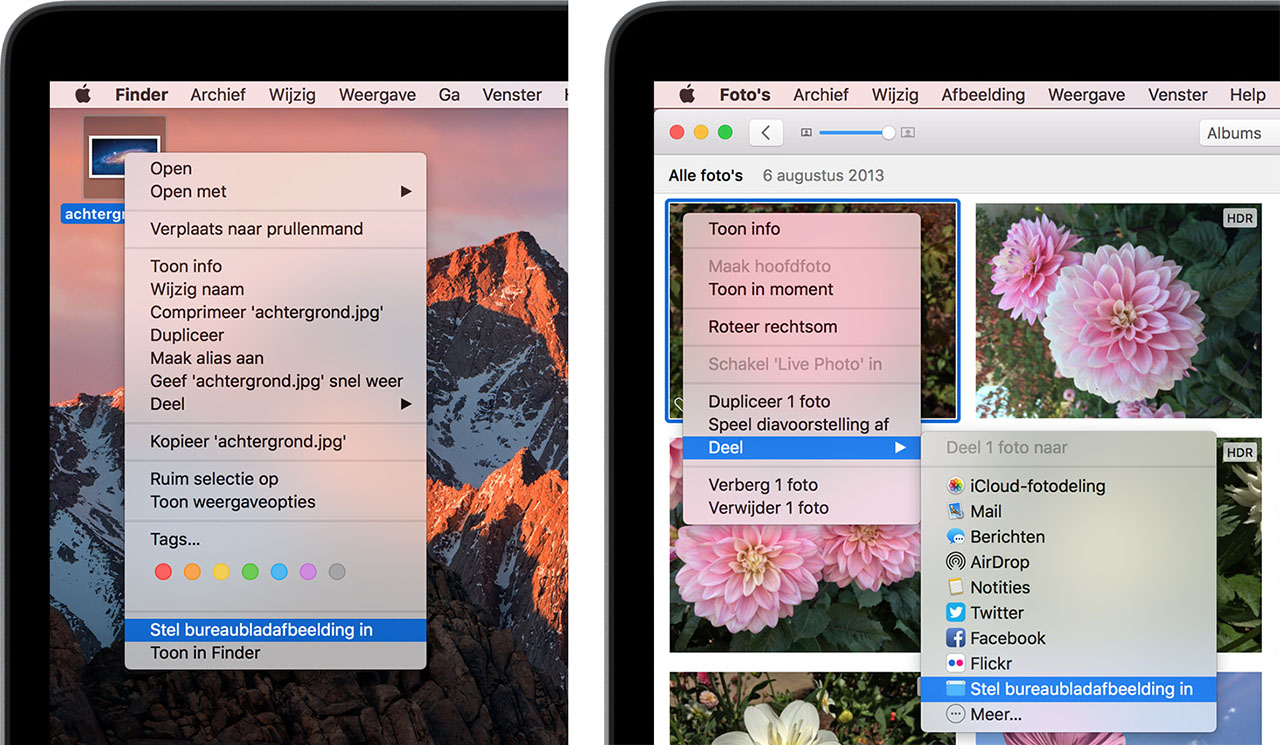 Mac wallpaper met eigen foto instellen