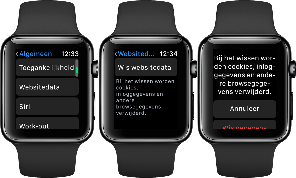 Apple Watch websitedata wissen