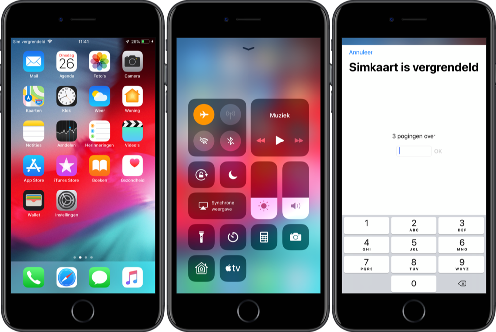 Simkaartbug in iOS 12 beta.