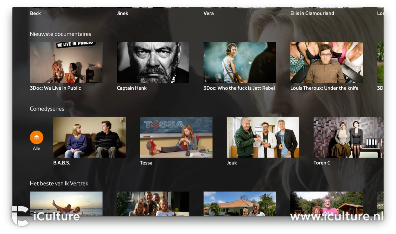 Knop voor categorieën in NPO Start op Apple TV.