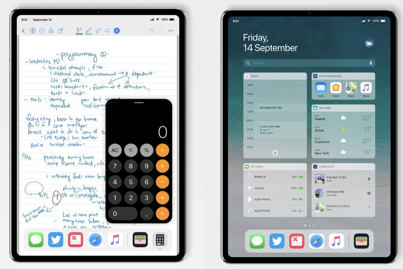 iPad Pro concept met widgets en nieuwe multitasking.