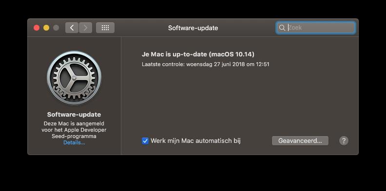 macOS updates Systeemvoorkeuren in macOS 10.14