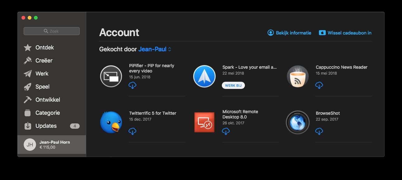 Mac App Store aankopen bekijken