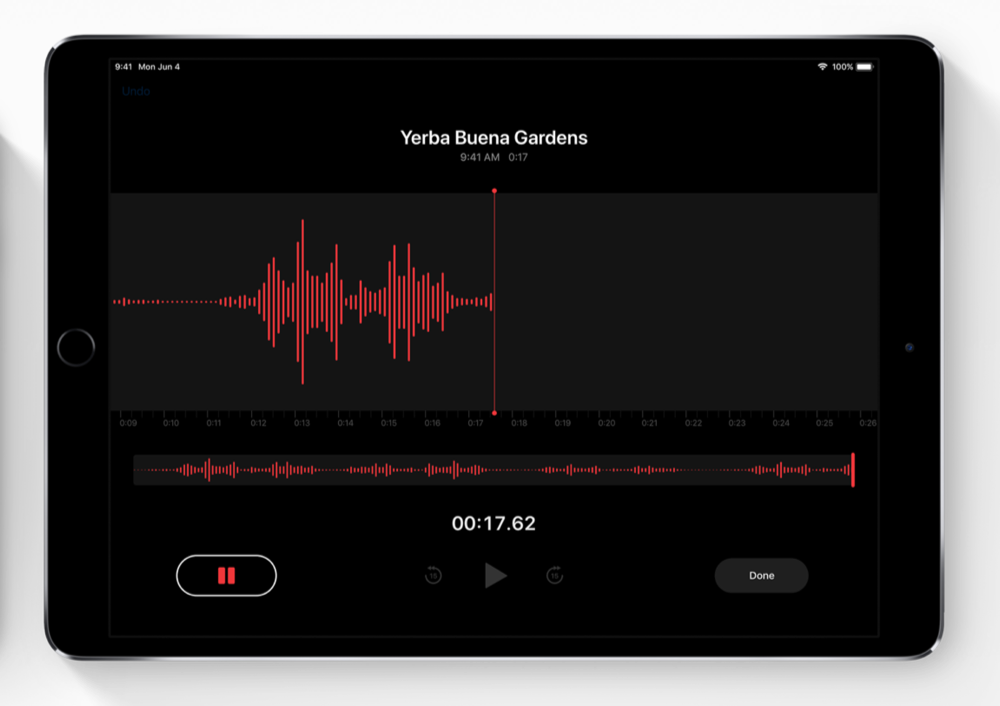 Dictafoon op de iPad.
