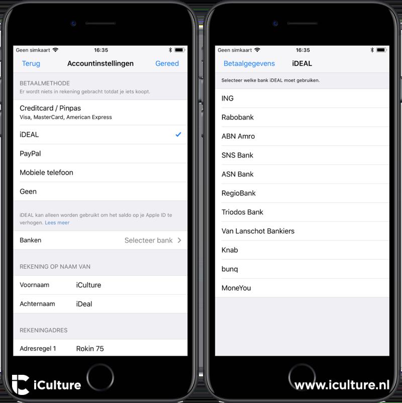App Store iDEAL betaalmethode instellen