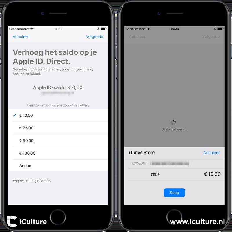 App Store saldo verhogen