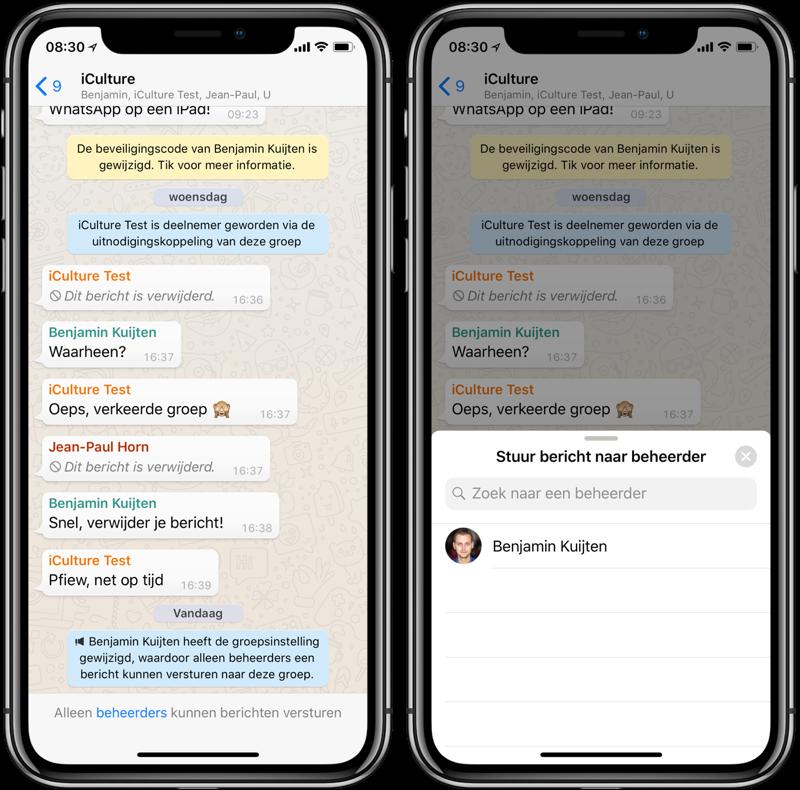 WhatsApp groepen: alleen beheerders