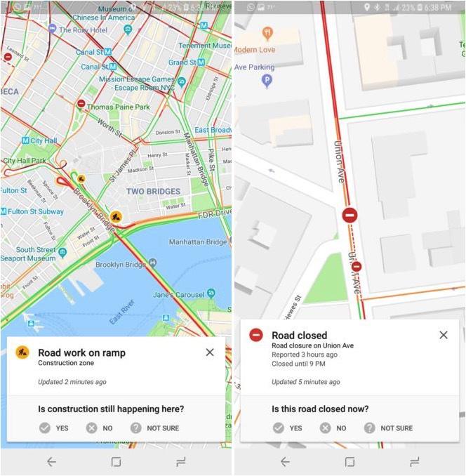 Google Maps met verkeersproblemen melden