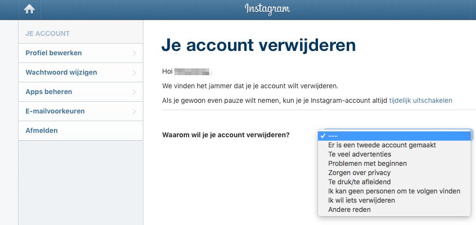 Instagram account verwijderen