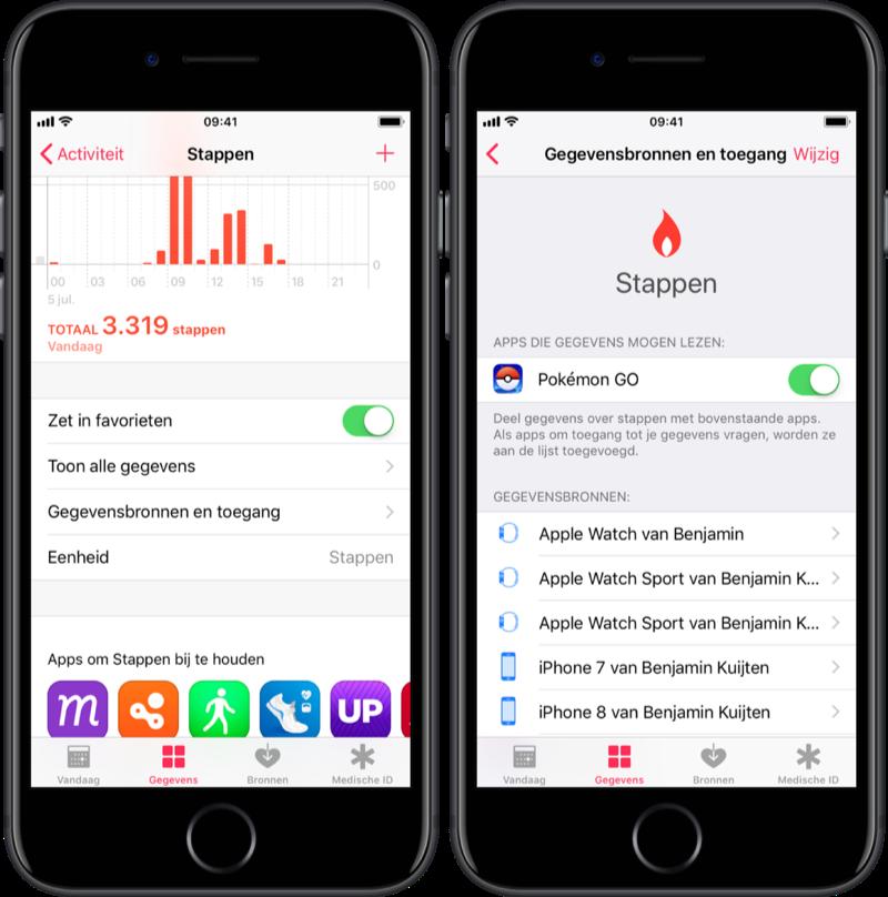 Bronnen voor stappen in de Gezondheid-app.