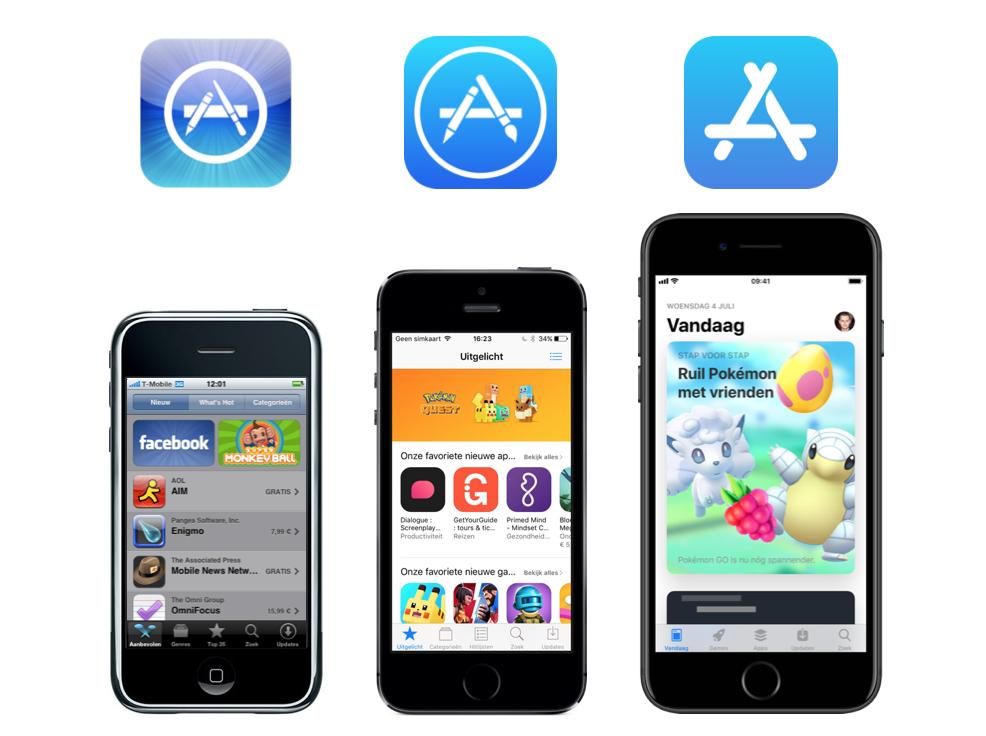App Store 10 jaar met logo's.