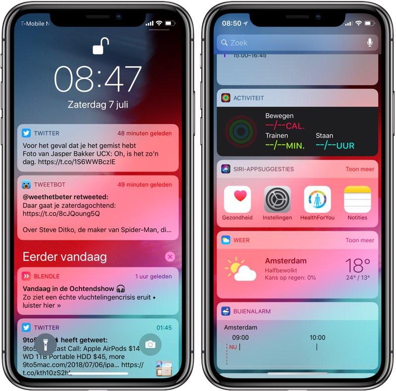 Meldingen en widgets op toegangsscherm