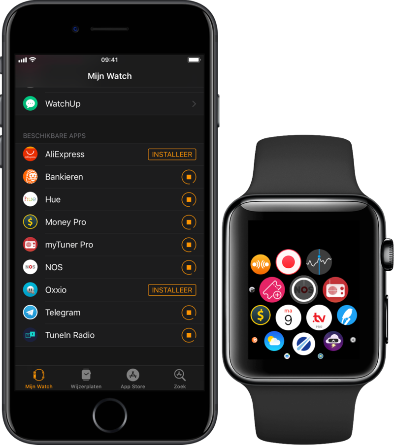 Apple Watch-app installatie vastgelopen.