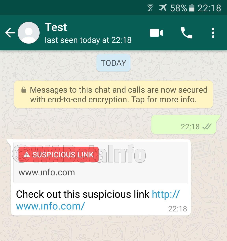 Verdachte link via WhatsApp.