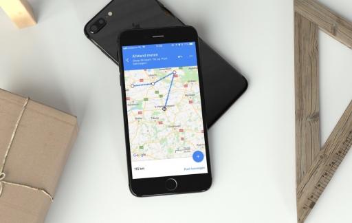 Google Maps afstand meten.