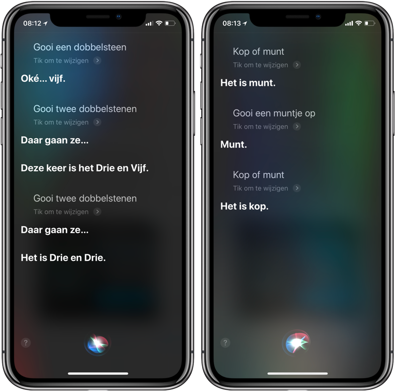 Siri dobbelsteen en munt opgooien