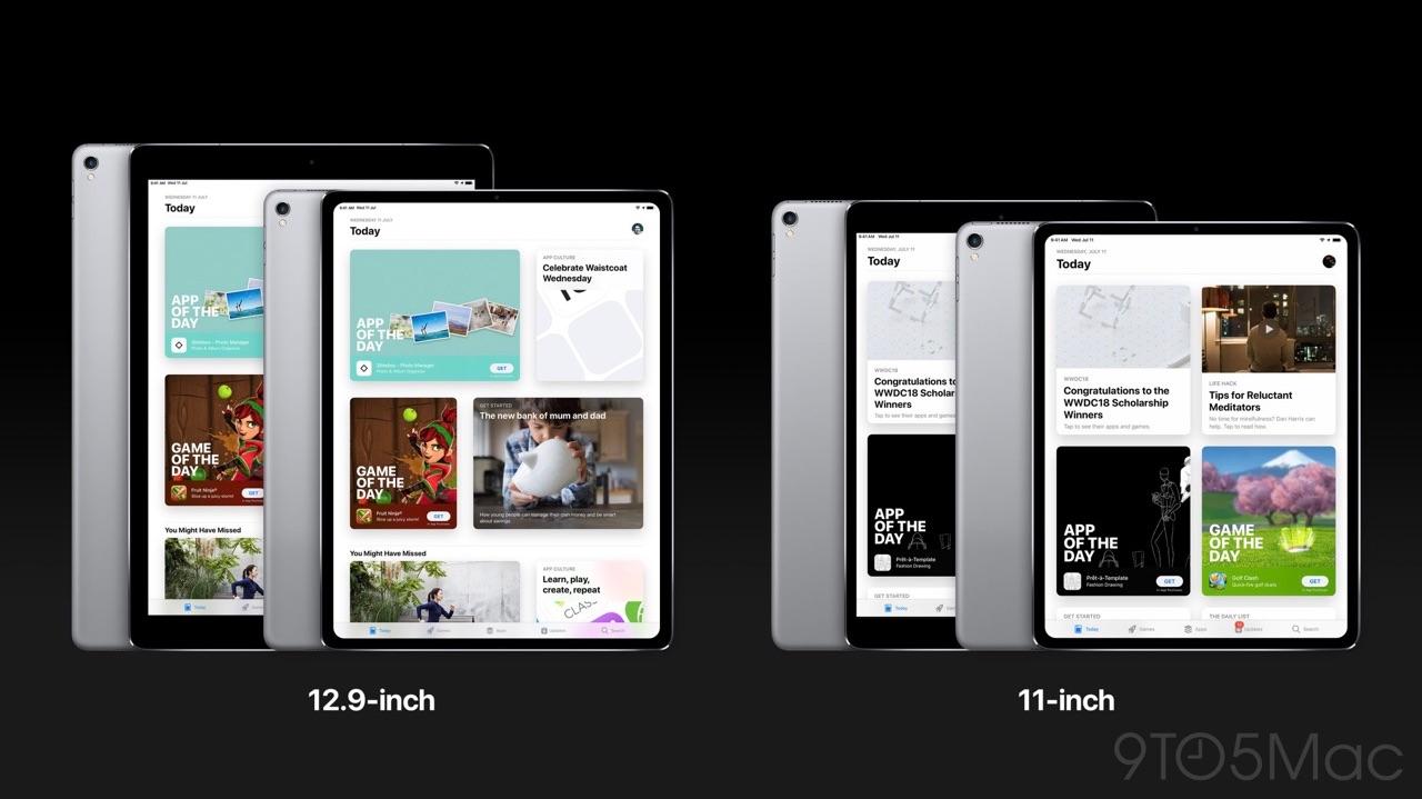 iPad Pro concept met groter scherm in vergelijking.