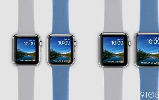 Apple Watch met groter scherm in vergelijking.