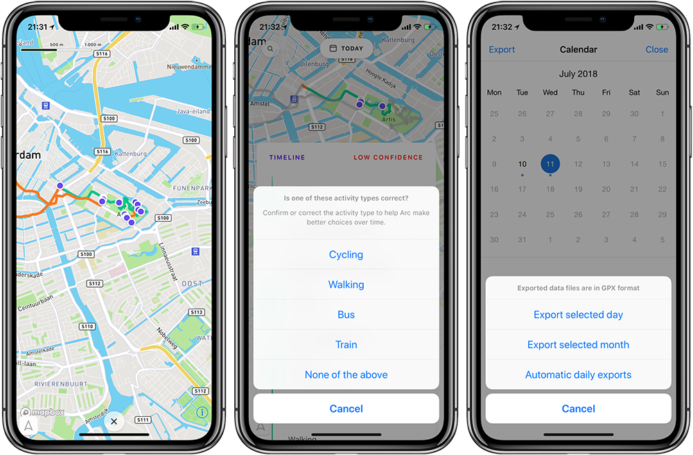 Arc app, beweging vastleggen
