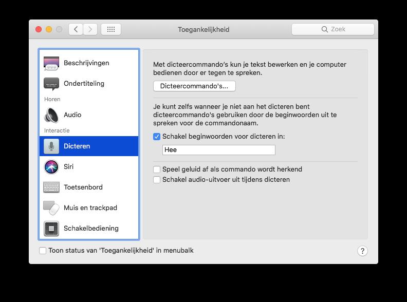 Hé Siri op de Mac dicteren