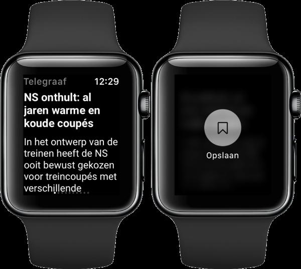 Telegraaf op Apple Watch met artikel opslaan.