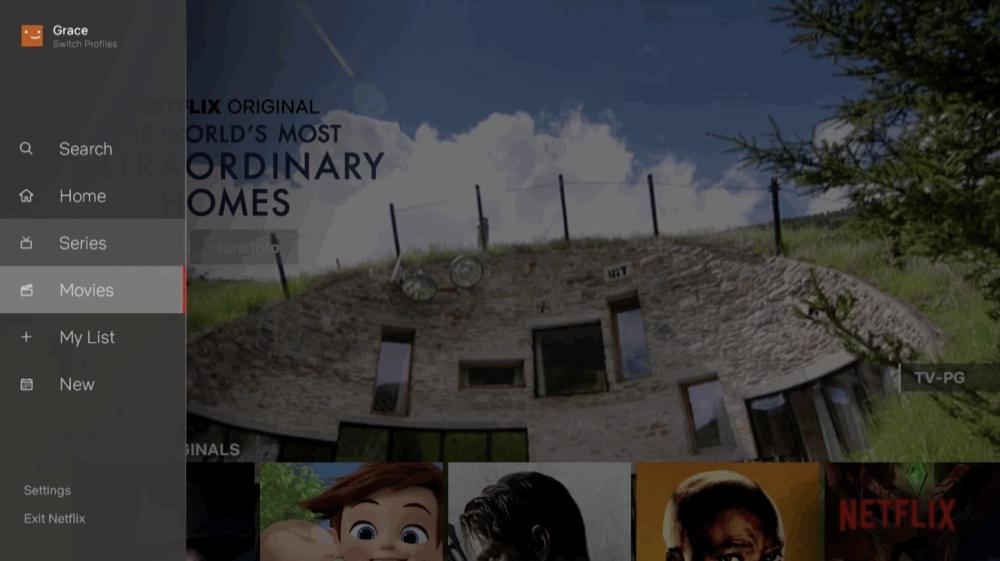 Netflix tv-app met zijmenu.