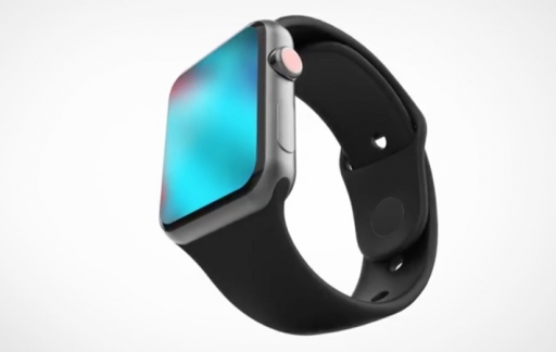 Concept van Apple Watch Series 4 met scherm.