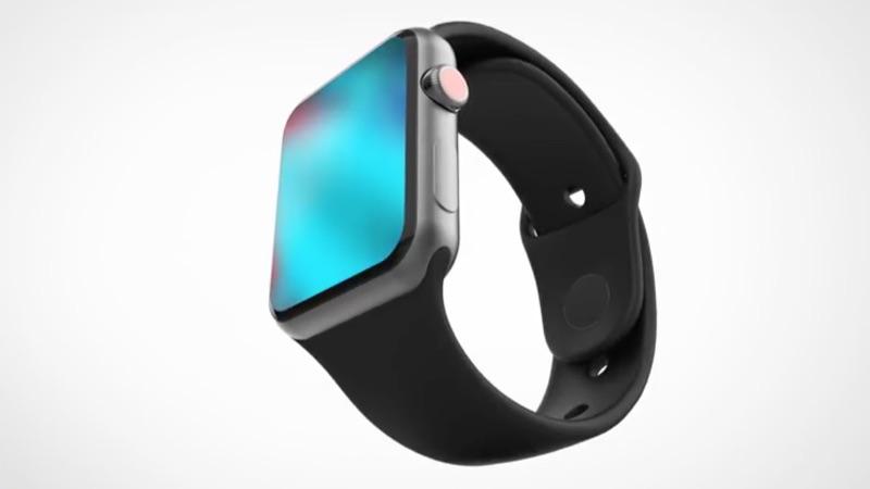 Concept van Apple Watch Series 4 met scherm.
