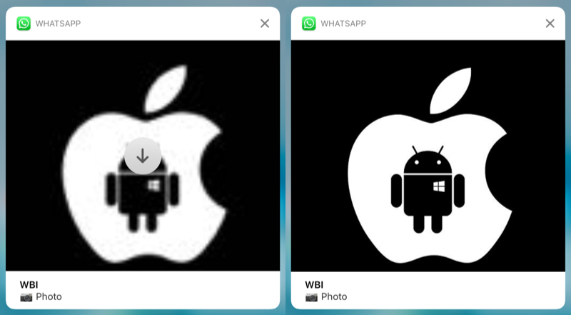 WhatsApp-notificatie met foto in het groot.