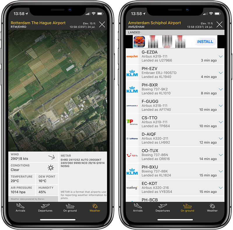 Flightradar24 vliegveld-info