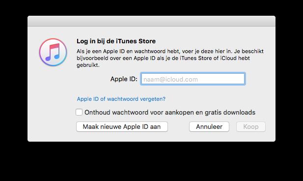 Maak nieuw Apple ID aan in iTunes.