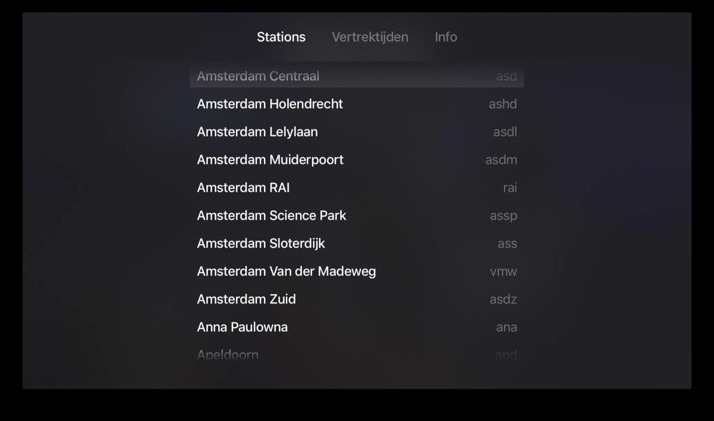 Vertrektijden op de Apple TV met stations.