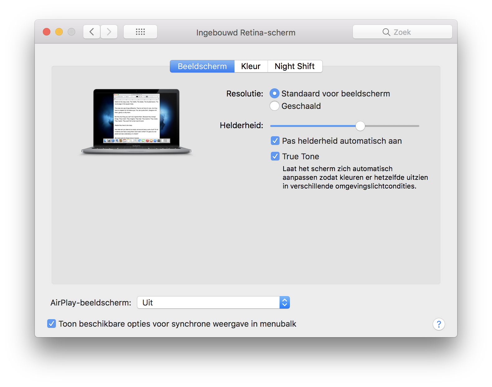 True Tone op de Mac inschakelen.