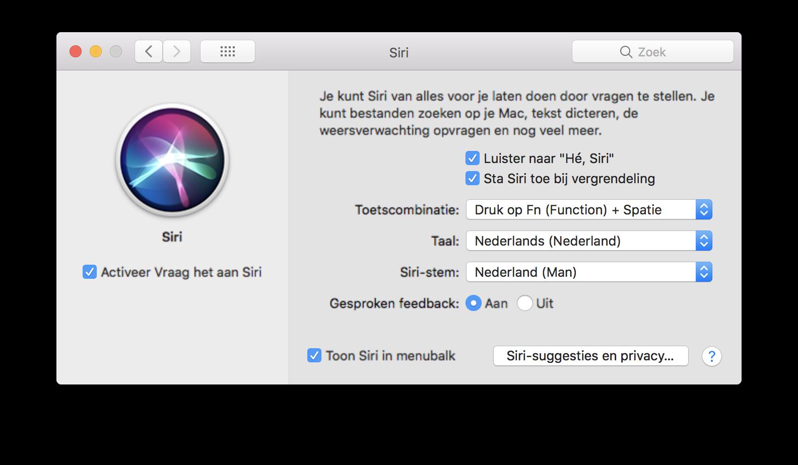 Siri-instellingen op de Mac.