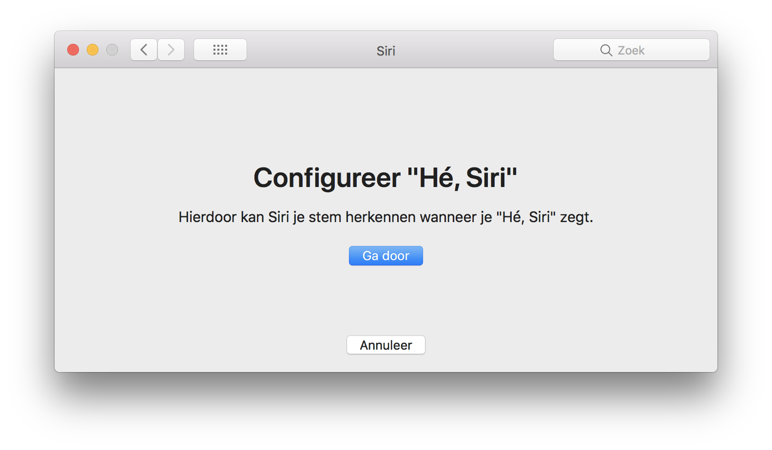 Configureer He Siri op de Mac.