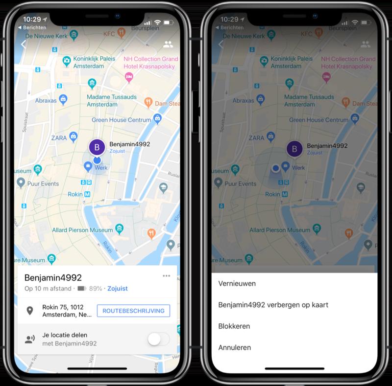 Google Maps locatie delen bekijken.