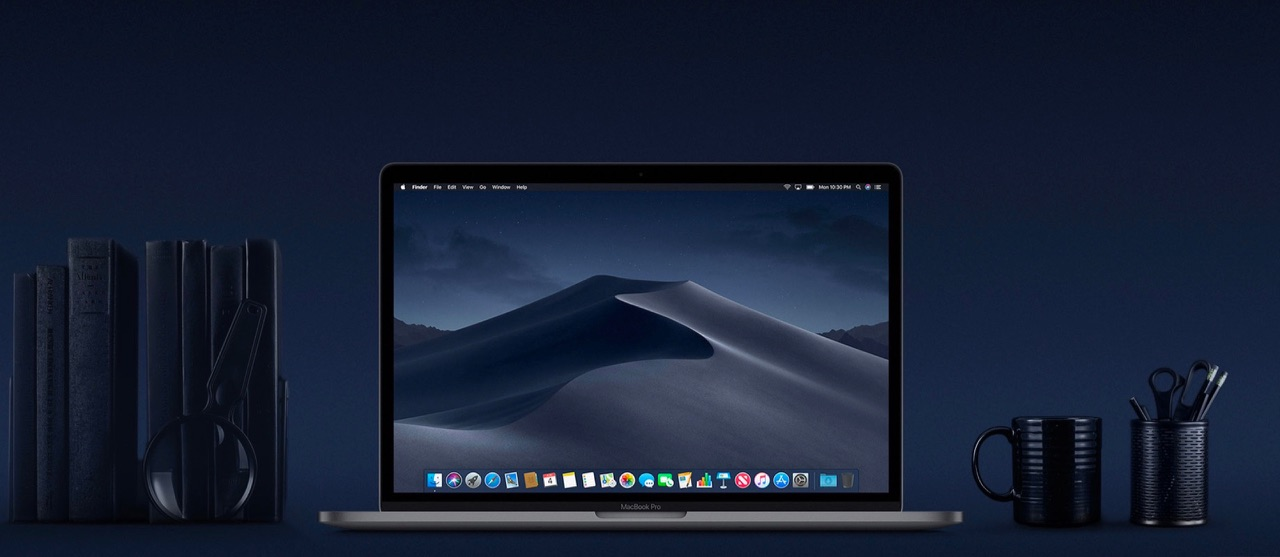 macOS Mojave banner in donkerblauw.