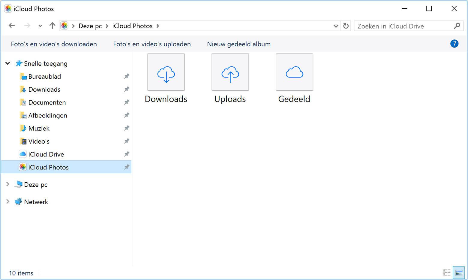 Foto's in iCloud voor Windows.