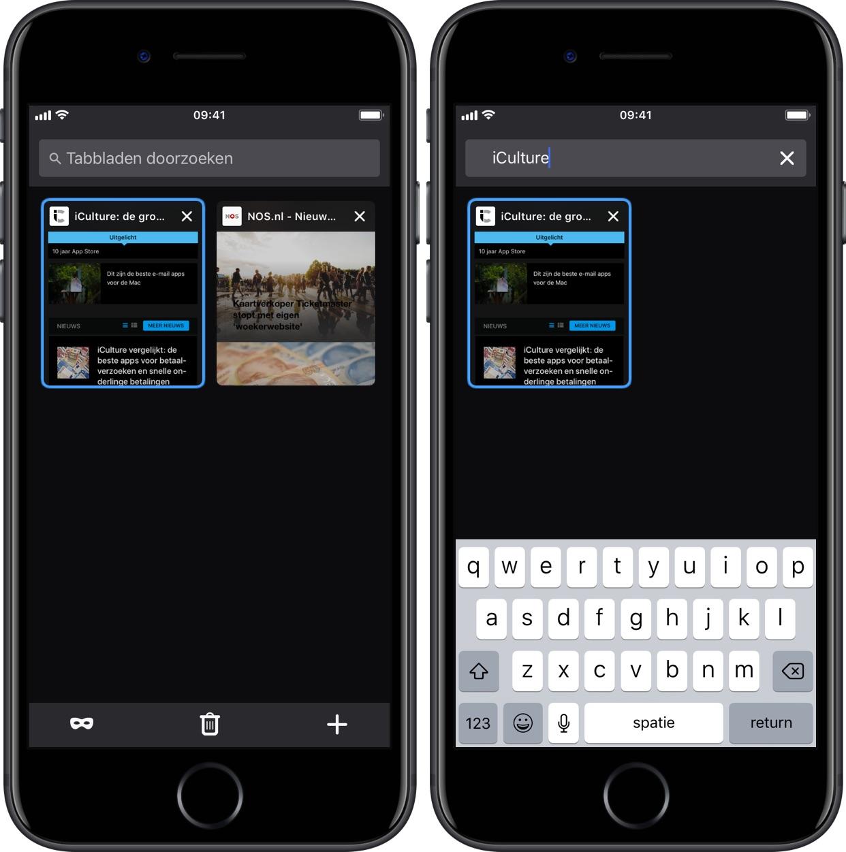 Firefox voor iOS v13 - tabbladen doorzoeken