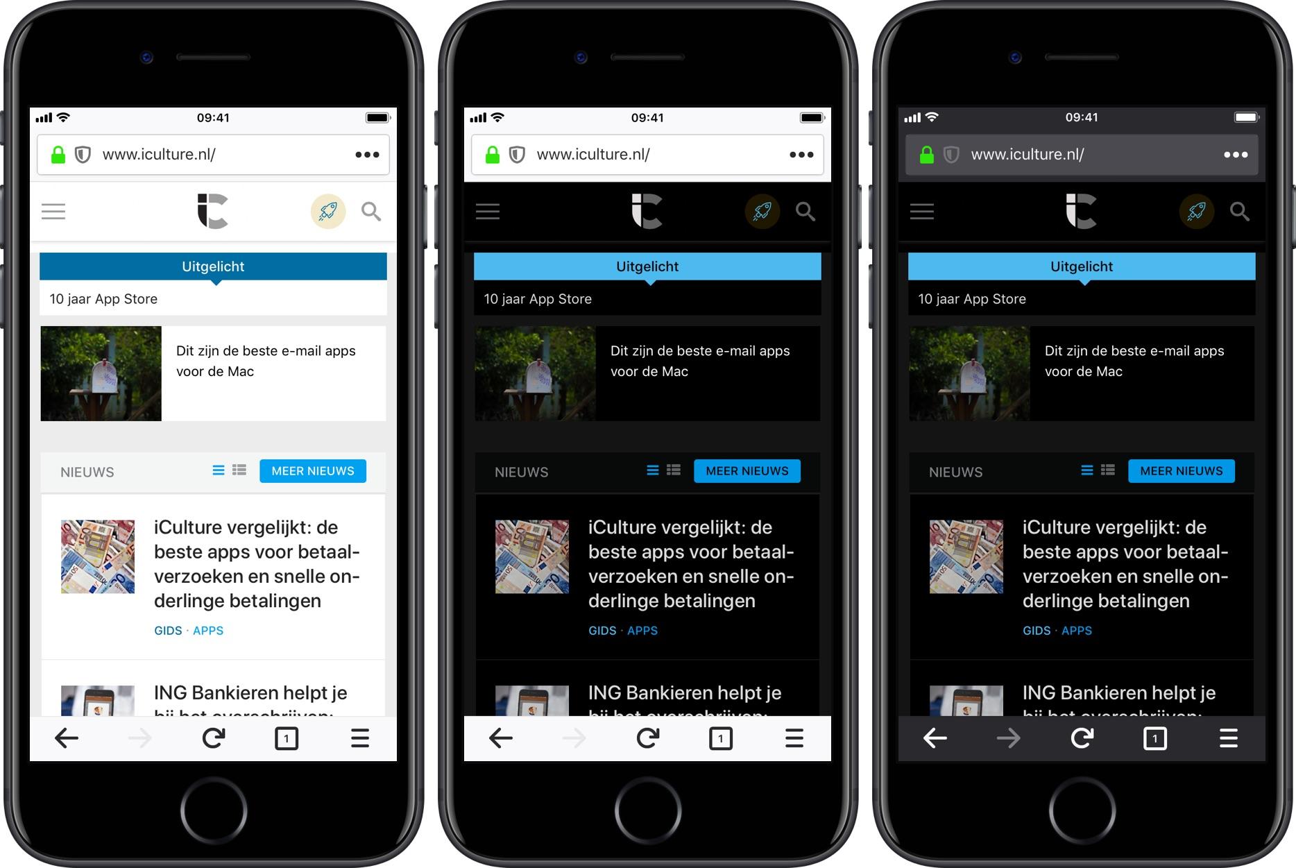 Firefox voor iOS v13 -nachtmodus