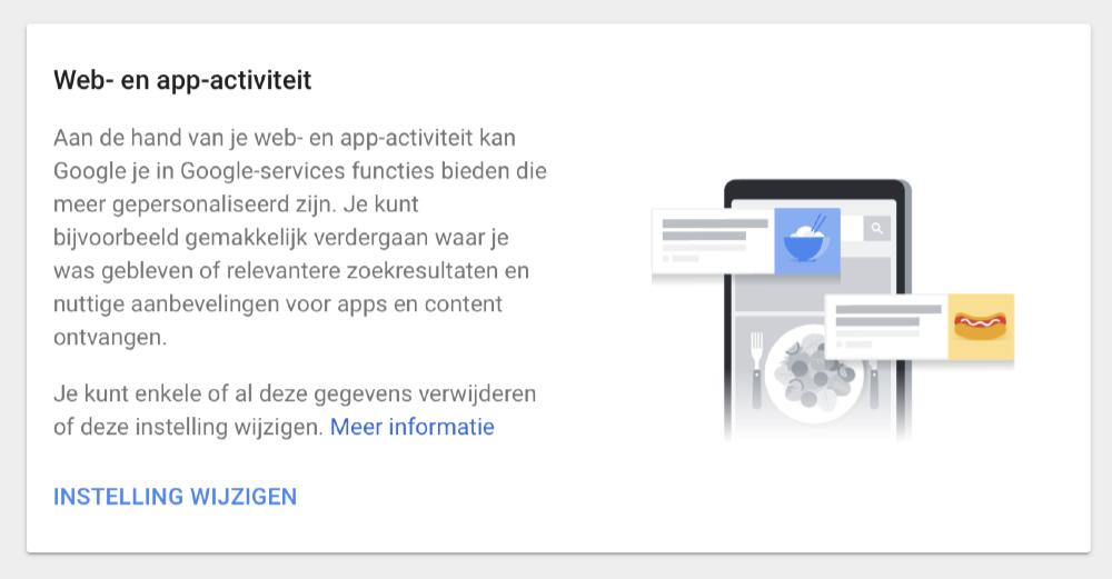 Google web- en app-activiteit.