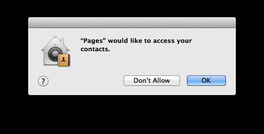 macOS waarschuwing voor toegang tot contacten.